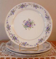 3 VTG NORITAKE Violette Dinner Plates Discontinued Actual 1948-1958 #Noritake