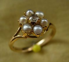 A 19th Century 18ct & 9ct Gold, Seed Pearl & Diamond Ring.