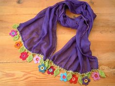 purple cotton scarf with colorful crochet flower trim Saree Kuchu Designs, Blouse Designs, Crochet Mittens, Crochet Hooks, Embroidered Clothes, Indian Designer Outfits, Cotton Scarf, Scarf Hairstyles, Long Scarf