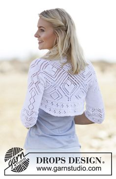 "Kamelia - DROPS square knitted bolero with lace pattern in ""Safran"". - Free pattern by DROPS Design Shrug Knitting Pattern, Knit Cardigan Pattern, Knit Shrug, Knitting Patterns Free, Knit Patterns, Free Knitting, Free Pattern, Drops Design, Crochet Wool"