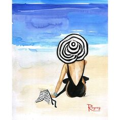 "This is a print of an original watercolor illustration, ""Beach Beauty"" by Rongrong DeVoe. Fun, colorful, whimsical artwork, perfect for the beach house or for any room at home. Artwork is printed on heavy, high quality semi-glossy photo paper and signed by the artist. Prints are enclosed with care in a clear cello bag and mailed in a bend proof mailer. - Chose from a variety of sizes - Materials: high quality semi-glossy photo paper - Larger sizes available printed on canvas - From original…"