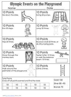 free printable with pocket chart vocabulary cards and a playground activity to get the children moving - RD already saved Olympic Games For Kids, Olympic Idea, Olympic Sports, Olympic Gymnastics, Kids Olympics, Summer Olympics, 2020 Olympics, Summer School, Summer Kids