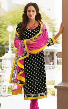BLACK & PINK BHAGALPURI SILK SALWAR KAMEEZ - DIF 29104