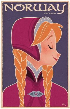 """peteremmerich: """"The first in my series of Disney Princess travel posters. Disney Love, Disney Magic, Disney Frozen, Disney Art, Ana Frozen, Disney Travel, Disney Films, Disney And Dreamworks, Disney Pixar"""
