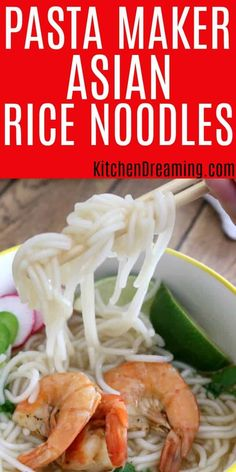 Used in so many dishes all over Asia and the Pacific Rim, being able to make Homemade Asian Rice Noodles in the pasta maker is an awesome addition to any cook's repertoire. Advance Maker Dreaming via Easy Homemade Recipes, Homemade Pasta, Phillips Pasta Maker Recipes, Kitchenaid Pasta Maker, Rice Noodle Recipes, Rice Noodle Dough Recipe, Noodle Maker, Asian Rice, Rice Noodles