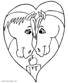Valentine coloring page - Horses!
