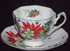 """Queen Anne """"Noel"""" cup and saucer."""