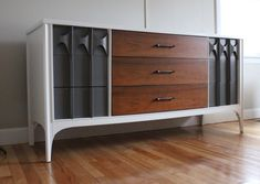 painted white, gray + wood, mid-century modern, kent coffey perspecta dresser/ credenza_blue.lamb furnishings