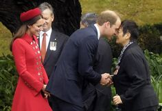 "Prince William (C) is watched by Catherine as he receives a Maori welcome known as a ""Hongi"" at a traditional Maori Powhiri Ceremonial Welcome at Government House in Wellington April 7, 2014. The couple are undertaking a 19-day official visit to New Zealand and Australia with their son George.      REUTERS"