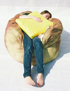 Baked Potato Bean Bag Chair Topped with a Butter Pat Accent Pillow