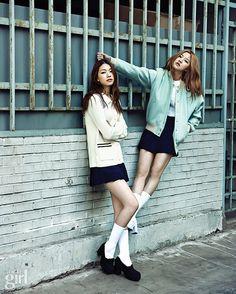 2014.04, Vogue Girl, Kim Jin Kyung, Ye Hye Won Mint varsity jacket