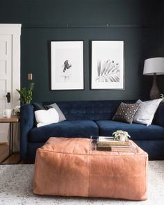Benjamin Moore paint in Salamander; from TheGoldHive one room challenge. Blue velvet couch and large leather pouf ottoman coffee table Dark Paint Colors, Room Paint Colors, Interior Paint Colors, Interior Plants, Interior Design, Simple Interior, Interior Doors, Wall Colors, Benjamin Moore