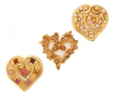 A Group of Three Christian Lacroix Heart Brooches. :