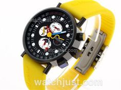 fcee9c6e25a2 Perfect Replica Alain Silberstein Krono Bauhaus 2 Automatic PVD Case with  Black Dial-Yellow Rubber Strap