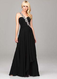 Embellished black evening gown