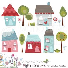 Little Houses Digital Clipart Set 2 - Commercial and Personal Use