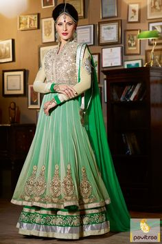 Pavitraa Green and Off White Long Bridal Salwar Suit Rs 5436 #anarkalisalwarsuit #bridalsalwarsuits