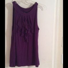 Purple top Purple top with ruffles at top great for work gently used Tops Blouses