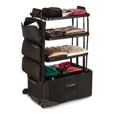 Perfect for travelers who hate unpacking, ShelfPack expands into four shelves, keeping cargo neat and organized.