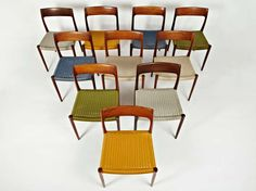 Niels Otto Moller Rosewood Dining Chairs in Original Woven Coloured Cord Seats image 4