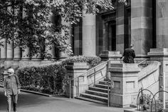 Two Alone Beneath Grand Columns Adelaide Australia  November 2014