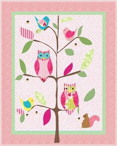 Looking for your next project? You're going to love Sophie's Pink Owl Quilt Pattern by designer One Bee Lane. Owl Quilt Pattern, Baby Quilt Patterns, Baby Girl Quilts, Girls Quilts, Owl Quilts, Butterfly Quilt, Owl Tree, Pink Owl, Baby Owls