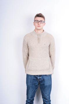 Lacoste Mens 48 2XL Jumper Sweater Wool Beige Turtleneck