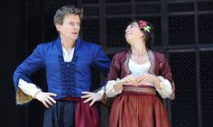 Charles Edwards (Benedick) and Eve Best (Beatrice) in MUCH ADO ABOUT NOTHING (Shakespeare's Globe, 2011, dir. Jeremy Herrin)