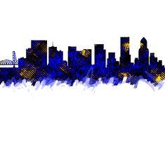 Portland Oregon Skyline Blue by Enki Art City Skylines, Portland Oregon, Cities, Greeting Cards, Wall Art, Blue, City, Wall Decor