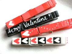 BE MY VALENTINE hand painted magnetic clothespin by SugarAndPaint, $10.00