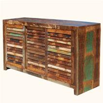 >Appalachian Rustic Reclaimed Wood Shutter Door Buffet Cabinet