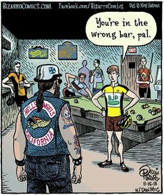 Today we have been looking for the worlds funniest cartoon strips about cycling. We are trying to find a few that we can have blown up (that's made bigger not combusted) framed (that's surrounded ...