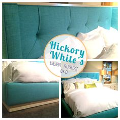"Hickory White | 309 N. Hamilton, ""Lilian August Bed"" LA83522, in Columbus Aqua fabric and Bone White finish, this bed is not only dreamy but elegant and glamorous! #HPMKT"