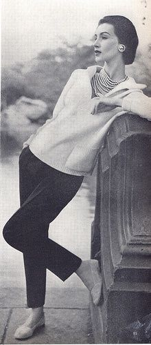 """Coco Chanel   sweater, cigarette pants, flats and and capital """"P"""" Pearls, 1955..."""