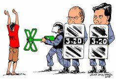 Charge sobre enfrentamento entre MPL e autoridades também critica prefeito e governador Carlos Latuff/Divulgação