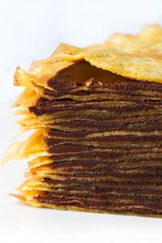 Bourbon Mille-Crepe Cake with Bourbon Caramel Chocolate Ganache Filling