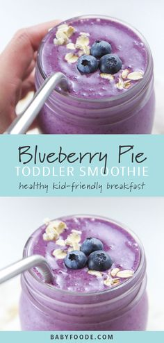 This Blueberry Pie Smoothie recipe tastes just like your favorite summer dessert but is full of healthy proteins, fiber, antioxidants, fatty acids and probiotics for a delicious and nutritious breakfast for the entire family! Healthy Smoothies For Kids, Toddler Smoothies, Apple Smoothies, Healthy Breakfast Smoothies, Healthy Kids, Healthy Drinks, Dinner Smoothie, Yummy Drinks, Breakfast Recipes