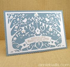Intricate Overlay Wedding Card by Annie Williams - made with my Silhouette CAMEO - Panissue Share Silhouette Cameo Wedding, Silhouette Cameo Cards, Silhouette Curio, Silhouette Cameo Projects, Wedding Frames, Wedding Cards, Wedding Lace, Wedding Ideas, Cricut Wedding
