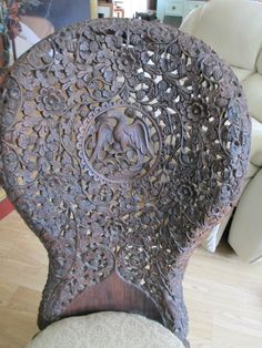 ANGLO INDIAN CARVED SPOONBACK CHAIR | eBay