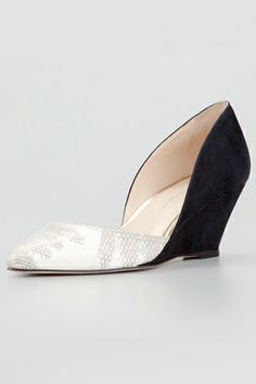 Loeffler Randall Rae Combo d'Orsay Wedges, $375, available at Neiman Marcus.
