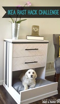 IKEA Rast dresser hack- dresser into dog bed. Ikea hack, dresser redo, DIY dog bed, furniture upcycle, step by step tutorial. How to paint furniture. To see more visit- http://ourhousenowahome.com/