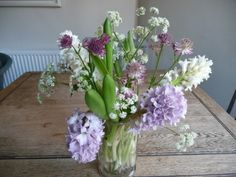 Cut hyacinths from my local florist and cow parsley from the local Common!