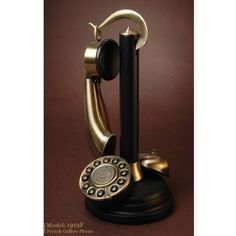 Antique-Style Brass Candlestick Phone with Bell at Brookstone