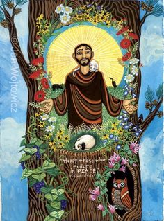 Supercute Saint Francis print on Etsy. How can you not love this? You must run a puppy mill.