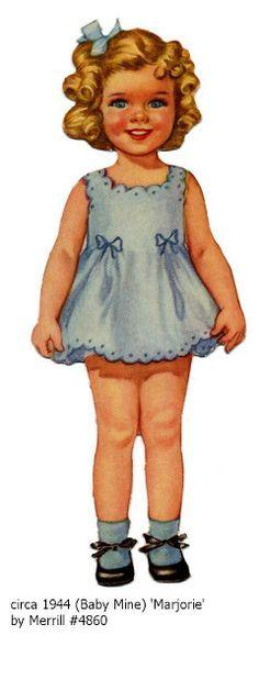 Baby Mine (Marjorie) by Merrill Vintage Girls, Vintage Children, Vintage Pictures, Vintage Images, Doll Toys, Baby Dolls, Girl Dolls, Paper Toys, Paper Crafts