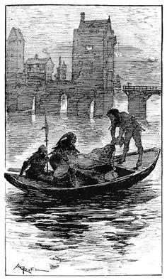 The end of chevalier de Boys-Bourredon.  Albert Robida, from Les contes drolatiques vol. 1, by Honoré de Balzac, Paris, ca. 1900.