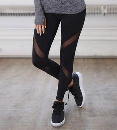637a8a15a3f87 Black X Striped Mesh Atheletic Yoga Pants Leggings