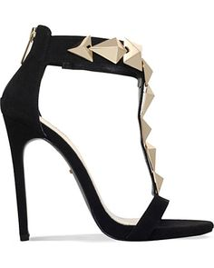 Carvela Kurt Geiger Black Gain Suedette Heeled Sandals - T-bar silhouette with chunky gold-toned embellishments