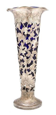 Art Nouveau cobalt glass vase | Art Nouveau