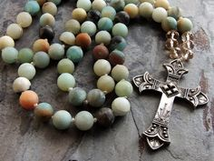 #Beaded #Cross #Necklace #Knotted #Boho
